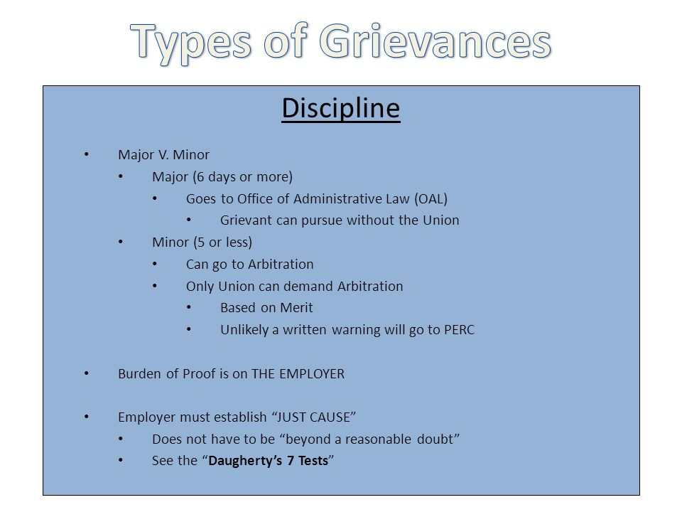 Types of Grievances Discipline Major V. Minor Major (6 days or more)