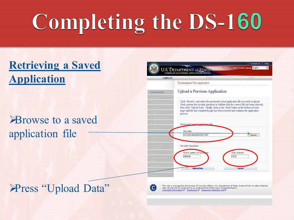 Completing the DS-160 Retrieving a Saved Application