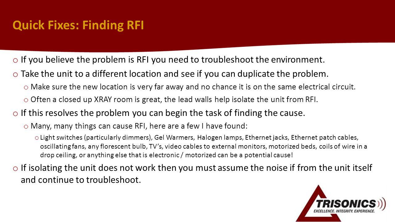 Quick Fixes: Finding RFI
