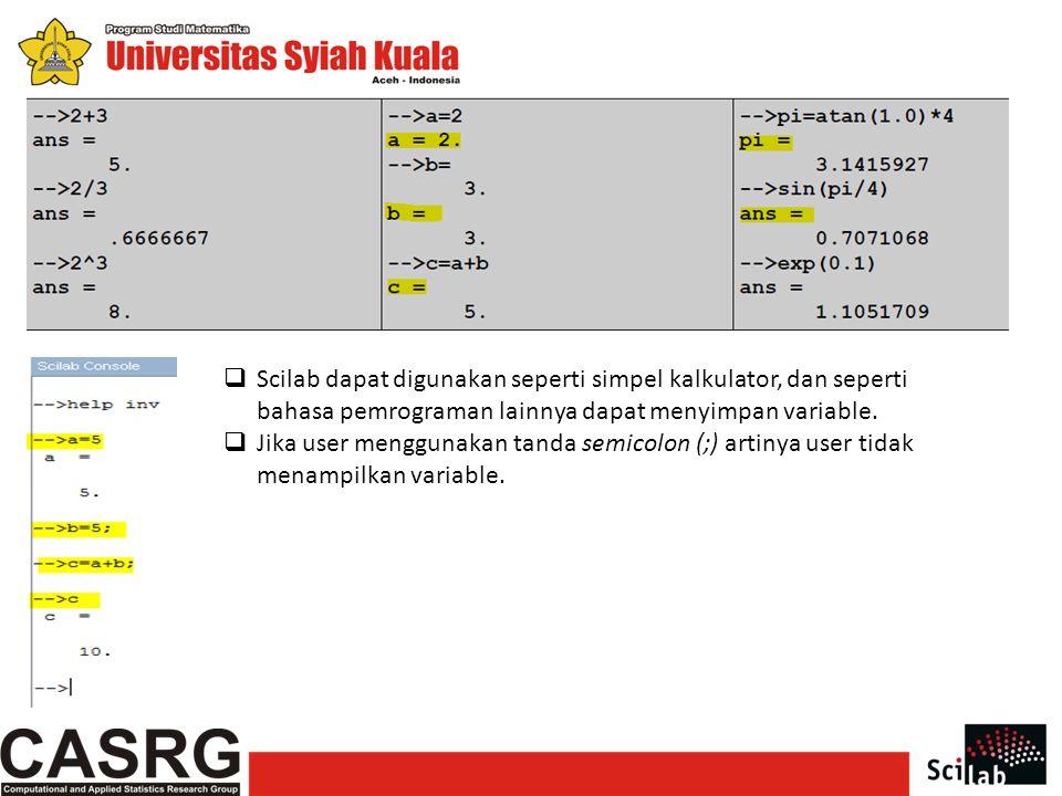 Scilab dapat digunakan seperti simpel kalkulator, dan seperti bahasa pemrograman lainnya dapat menyimpan variable.