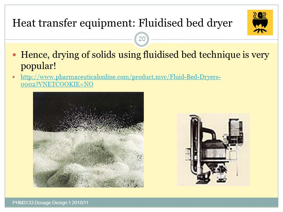 Heat transfer equipment: Fluidised bed dryer