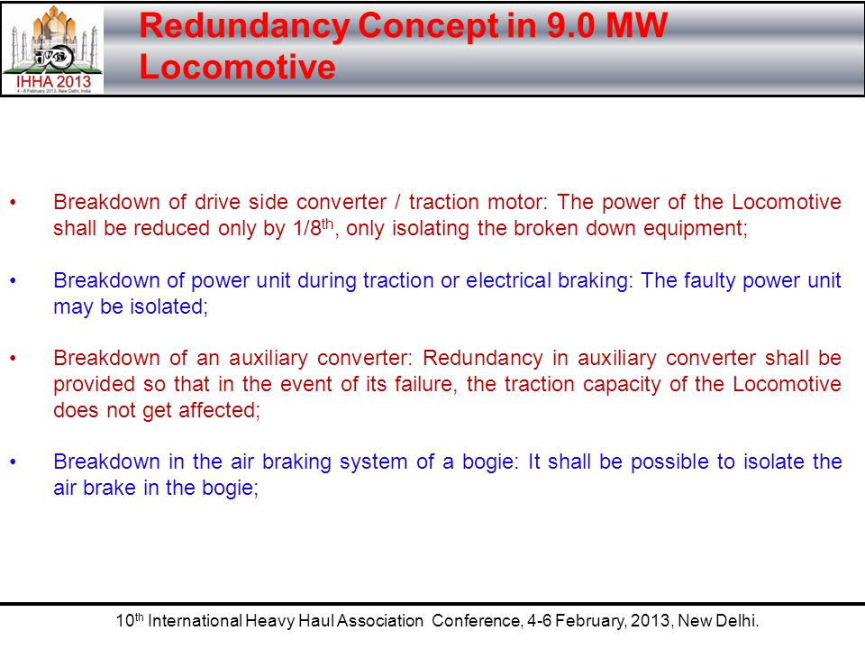 Redundancy Concept in 9.0 MW Locomotive