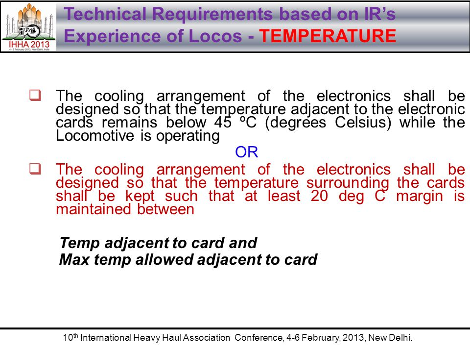 Technical Requirements based on IR's Experience of Locos - TEMPERATURE