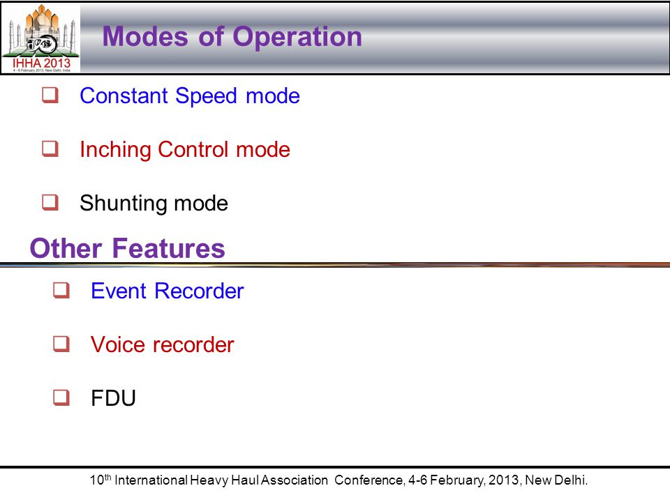 Modes of Operation Other Features Constant Speed mode