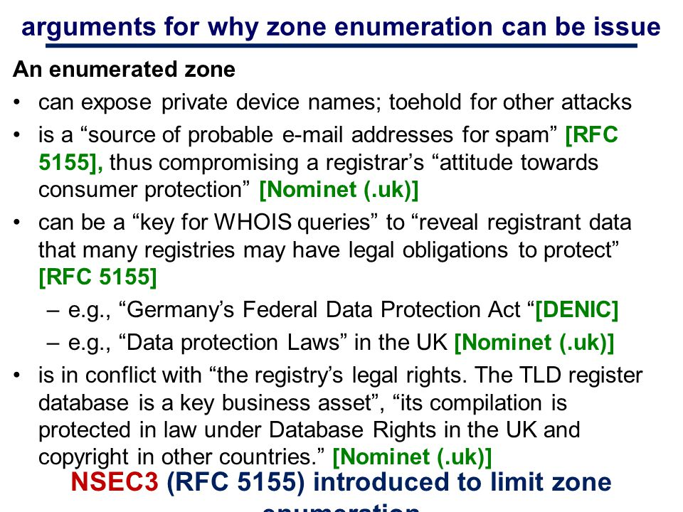 arguments for why zone enumeration can be issue