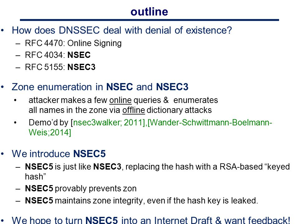 outline How does DNSSEC deal with denial of existence