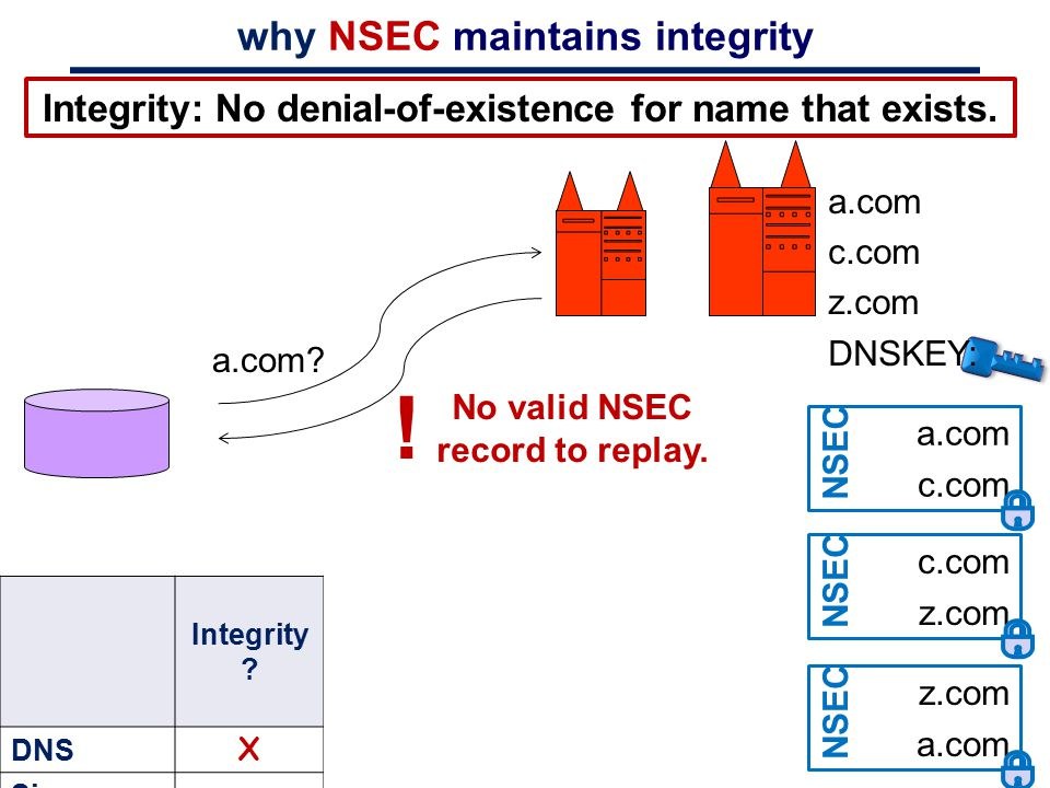 why NSEC maintains integrity