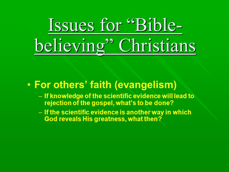 Issues for Bible-believing Christians