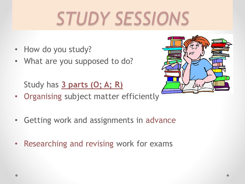 STUDY SESSIONS How do you study What are you supposed to do