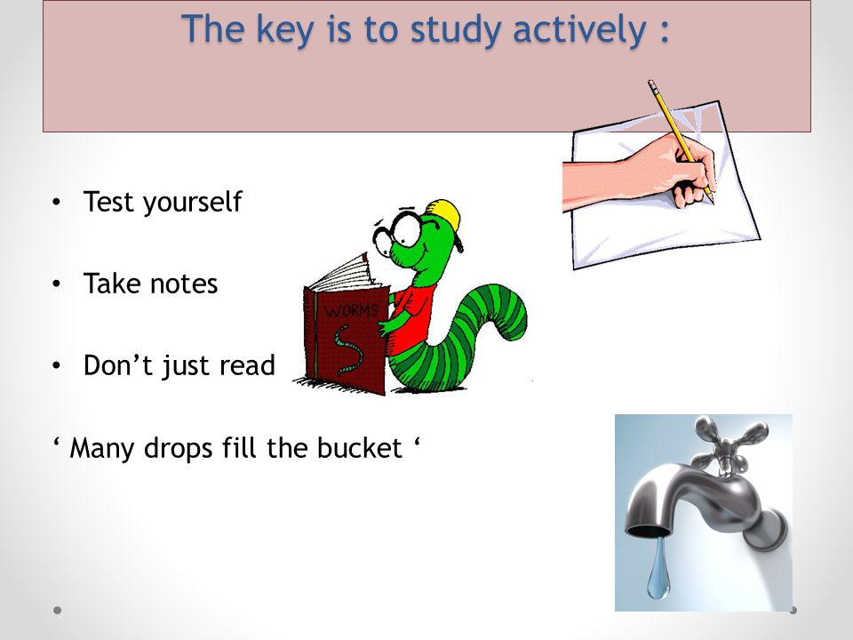 The key is to study actively :