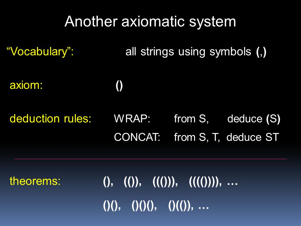 Another axiomatic system