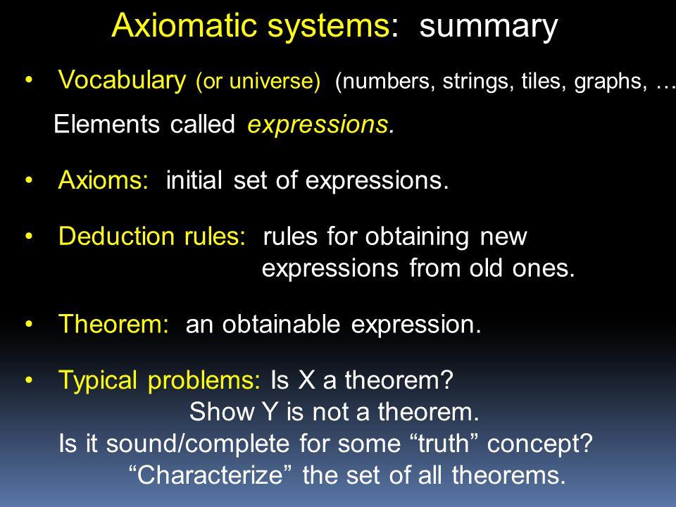 Axiomatic systems: summary
