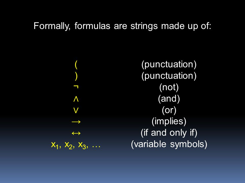Formally, formulas are strings made up of: