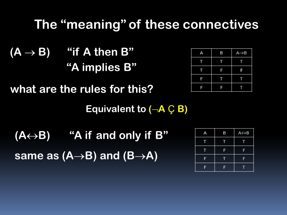 The meaning of these connectives