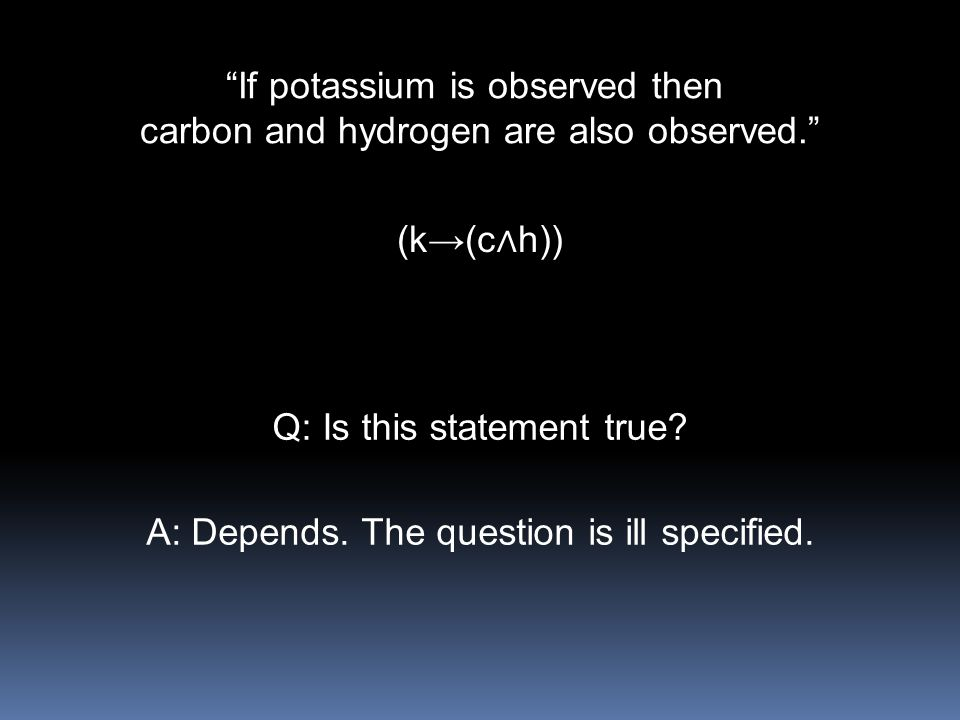 If potassium is observed then carbon and hydrogen are also observed.