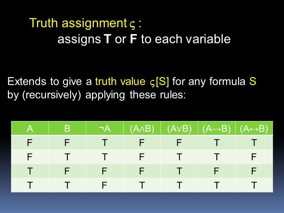 Truth assignment V : assigns T or F to each variable