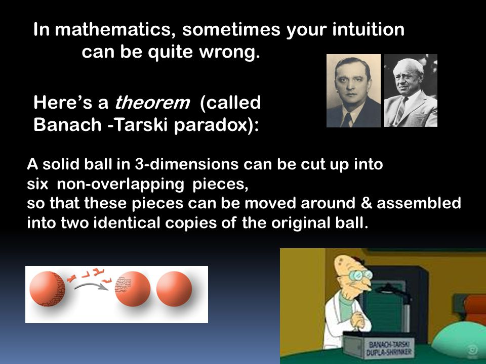 In mathematics, sometimes your intuition can be quite wrong.
