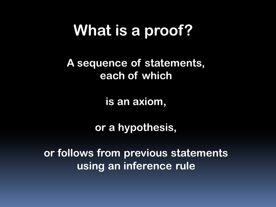 What is a proof A sequence of statements, each of which is an axiom,