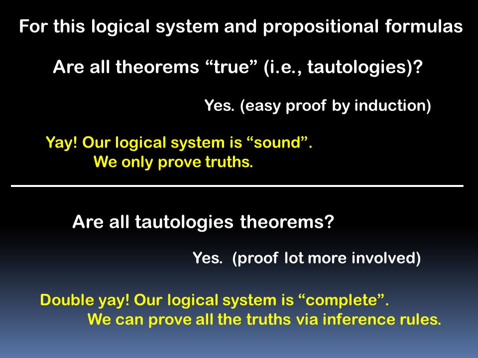 For this logical system and propositional formulas