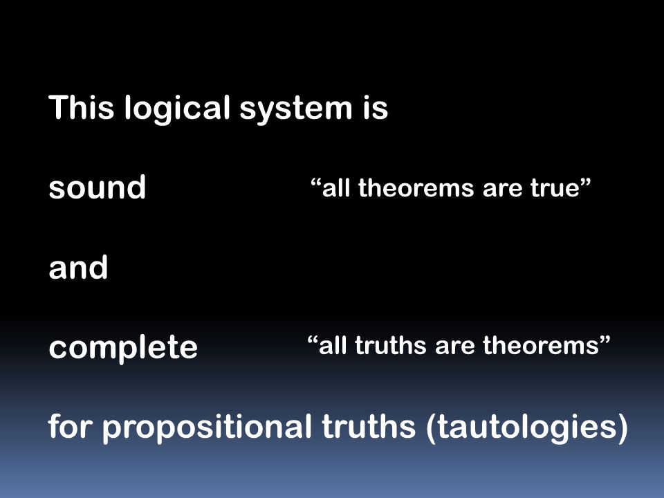 for propositional truths (tautologies)