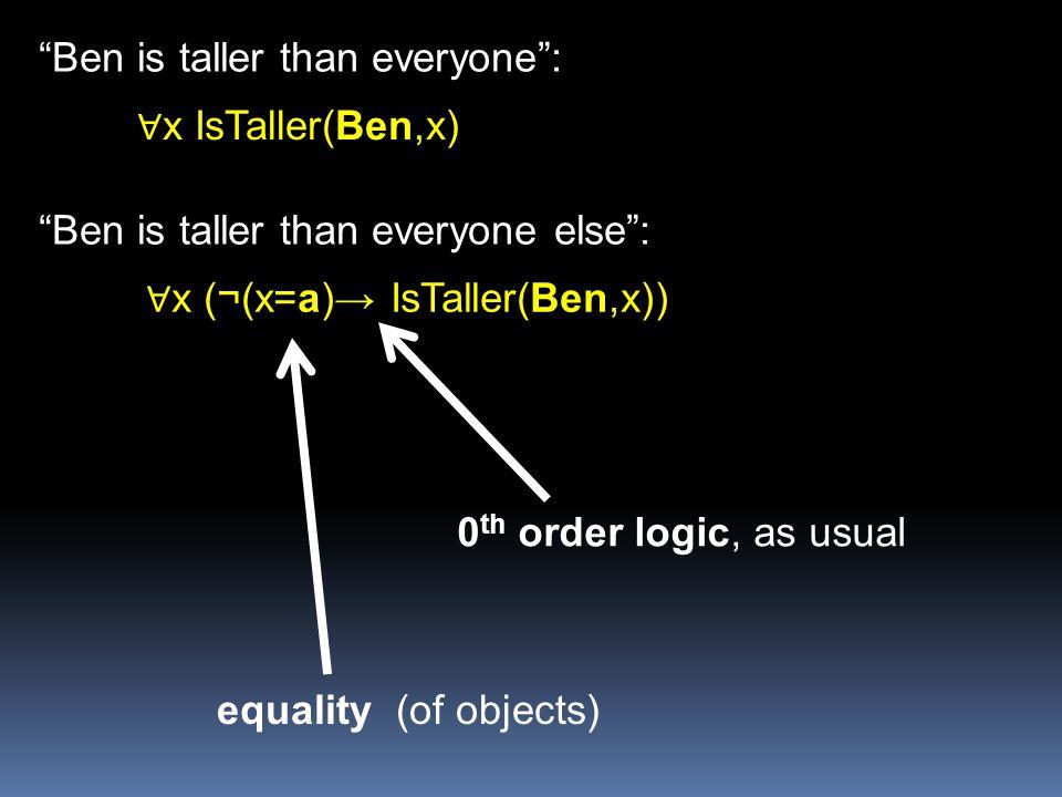∀x (¬(x=a)→ IsTaller(Ben,x))