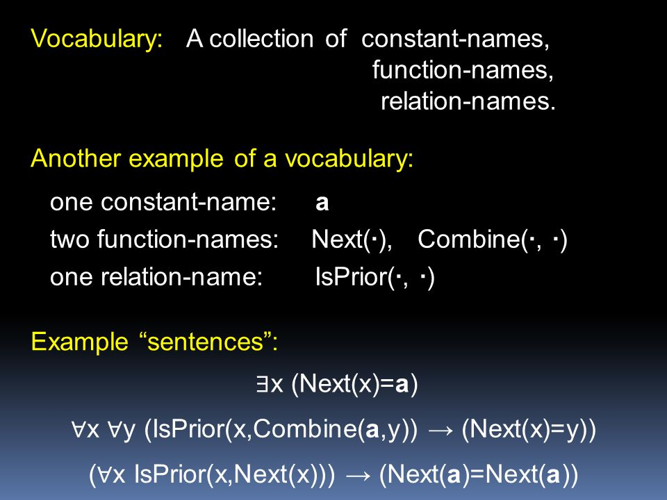 Vocabulary: A collection of constant-names, function-names,