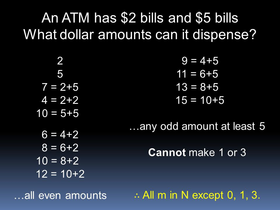 An ATM has $2 bills and $5 bills What dollar amounts can it dispense