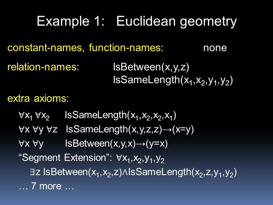 Example 1: Euclidean geometry