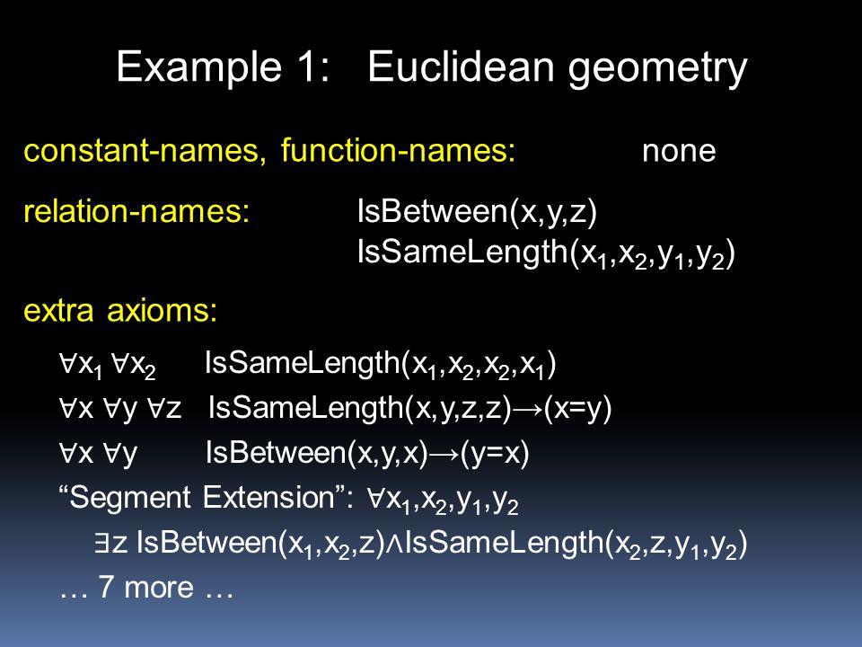 Example 1: Euclidean geometry