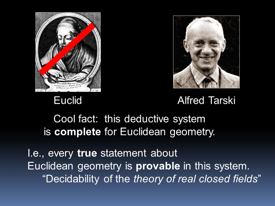 Cool fact: this deductive system is complete for Euclidean geometry.