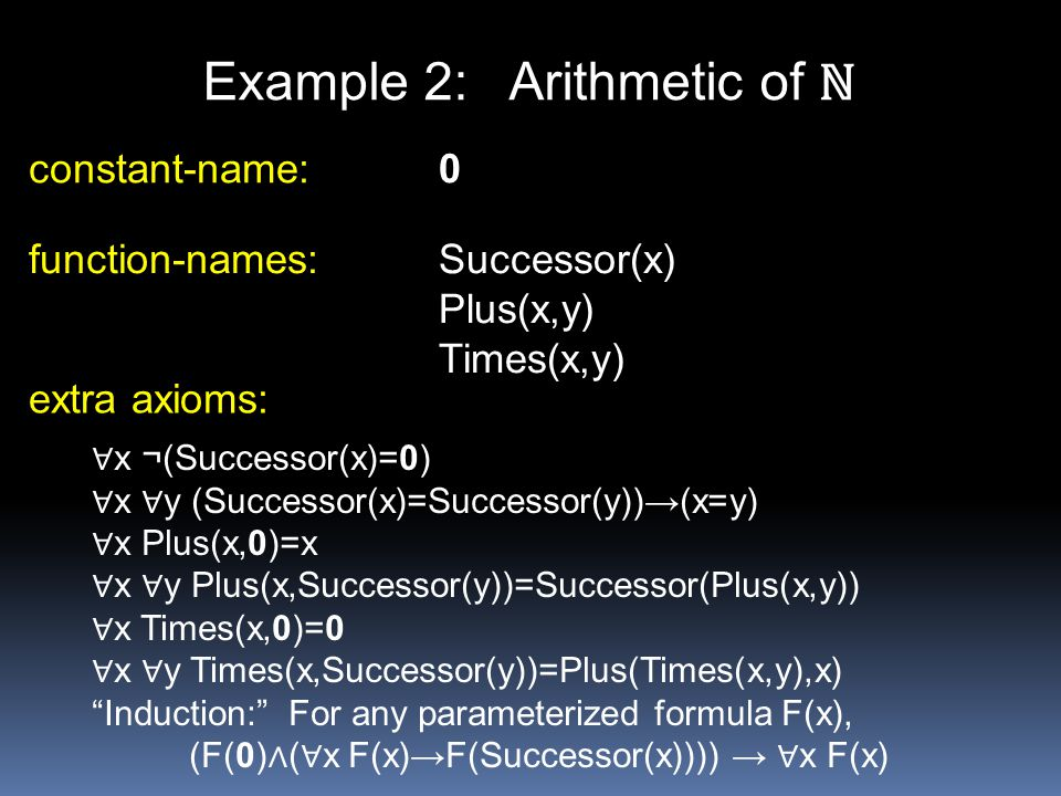 Example 2: Arithmetic of ℕ