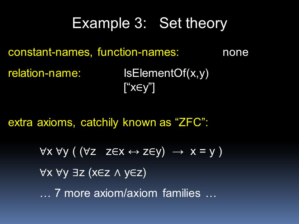 Example 3: Set theory constant-names, function-names: none