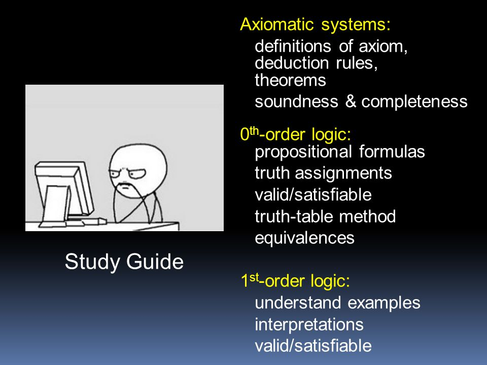 Study Guide Axiomatic systems: