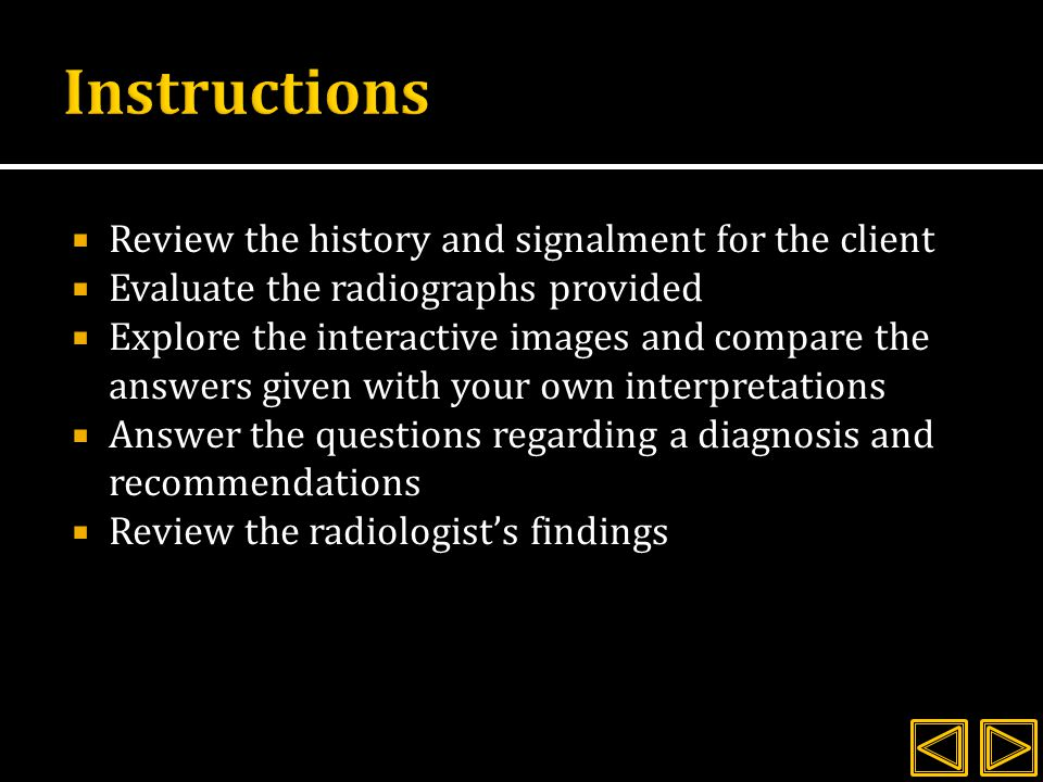 Instructions Review the history and signalment for the client