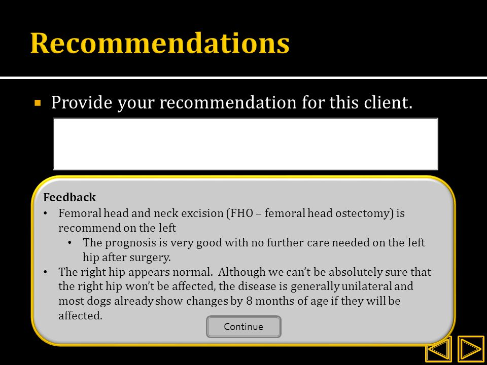 Recommendations Provide your recommendation for this client. Feedback