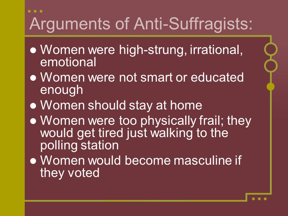 Arguments of Anti-Suffragists: