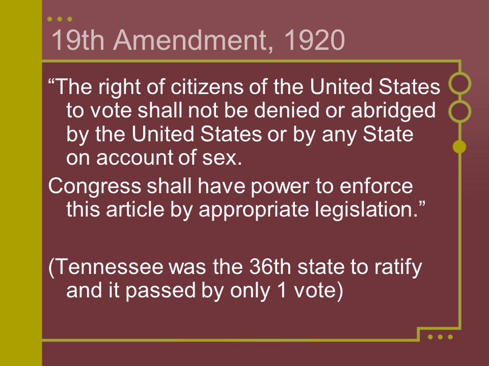 19th Amendment, 1920