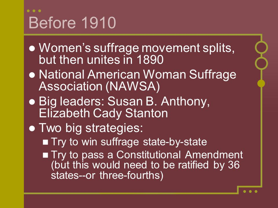 Before 1910 Women's suffrage movement splits, but then unites in 1890