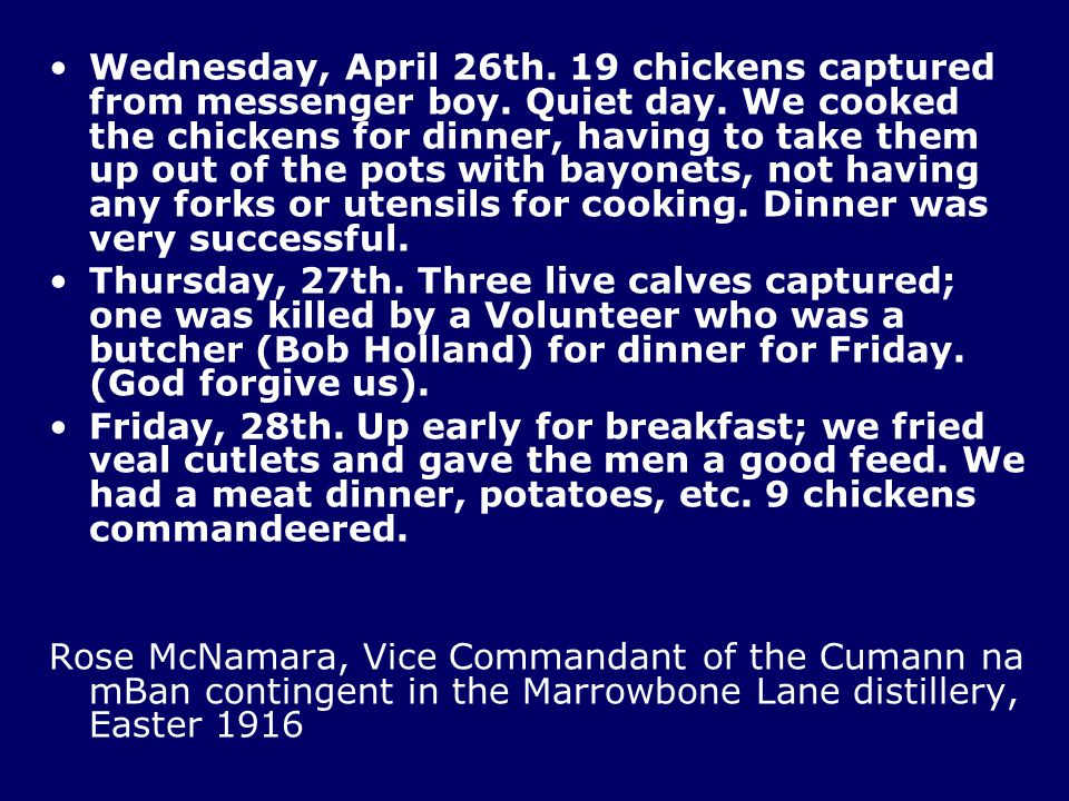 Wednesday, April 26th. 19 chickens captured from messenger boy