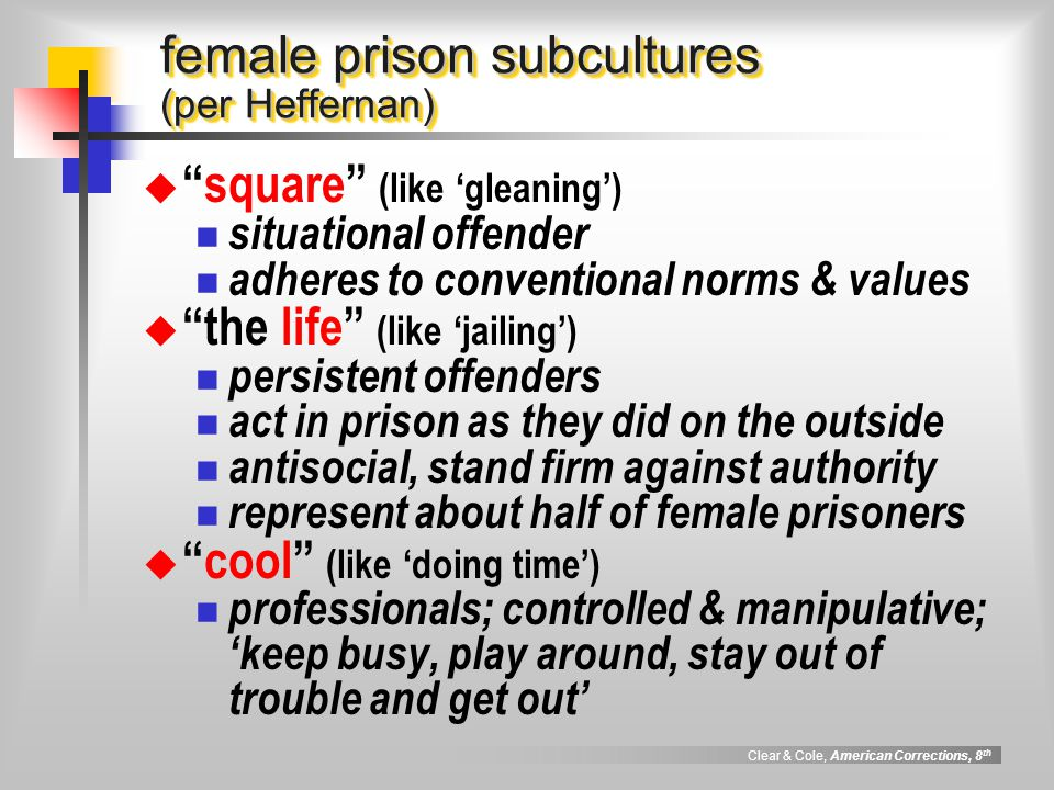 female prison subcultures (per Heffernan)