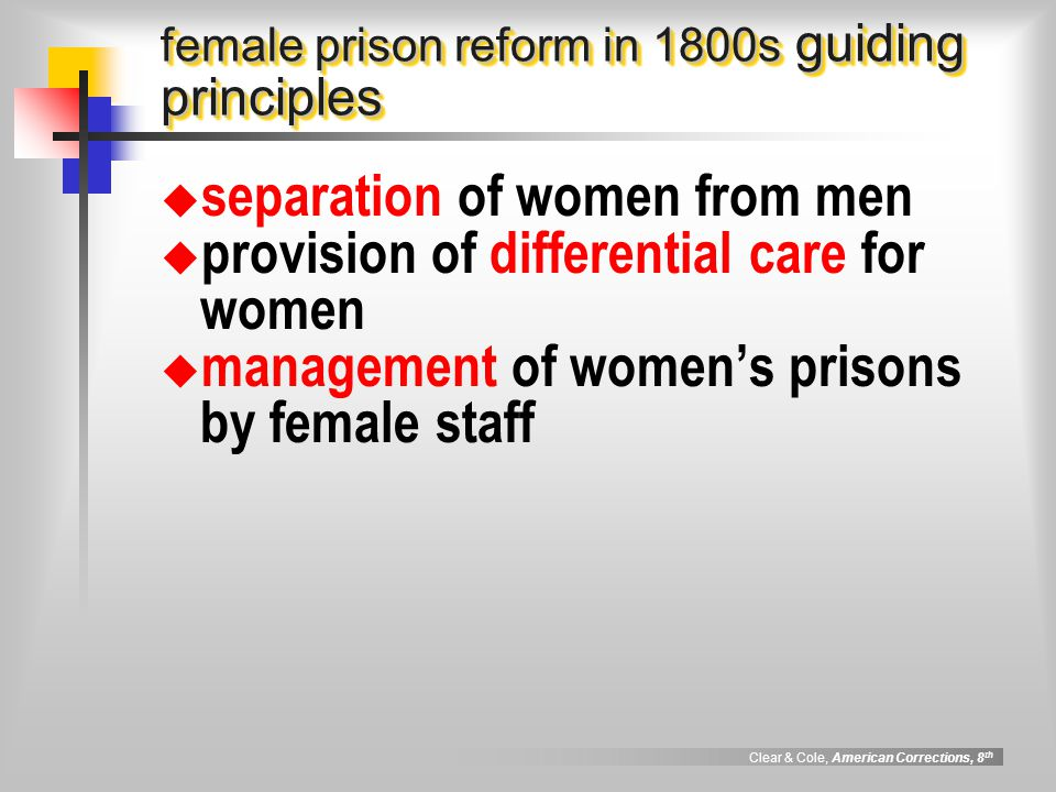 female prison reform in 1800s guiding principles