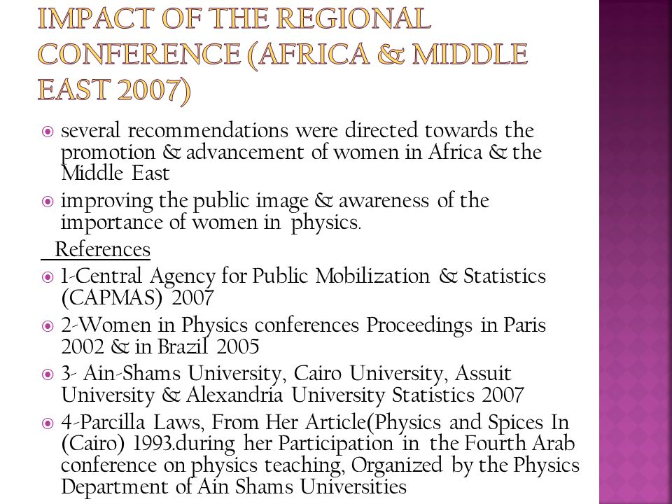Impact of The Regional Conference (Africa & Middle East 2007)