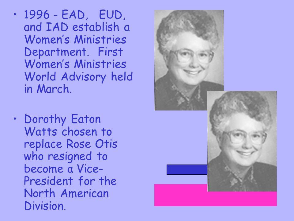 1996 - EAD, EUD, and IAD establish a Women's Ministries Department