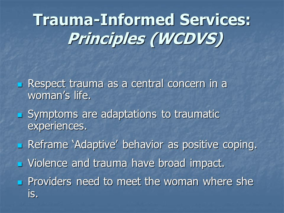 Trauma-Informed Services: Principles (WCDVS)