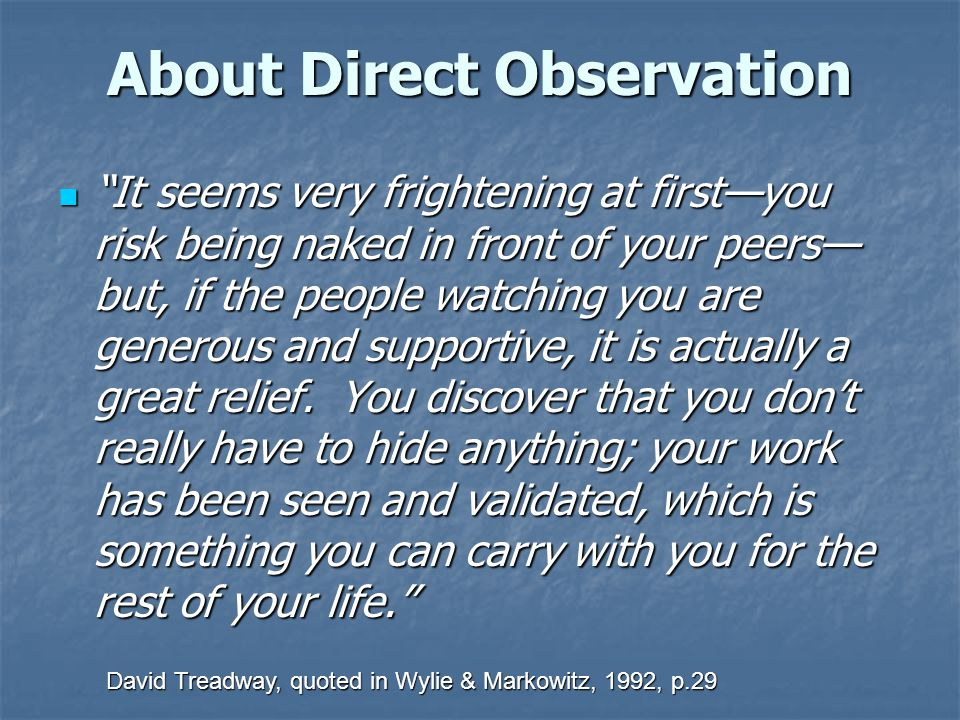 About Direct Observation