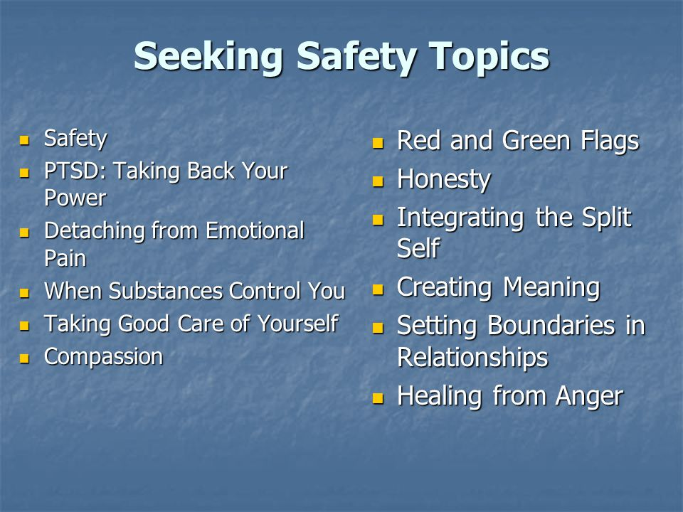 Seeking Safety Topics Red and Green Flags Honesty
