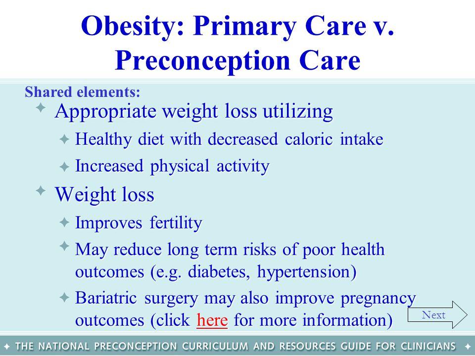 Obesity: Primary Care v. Preconception Care