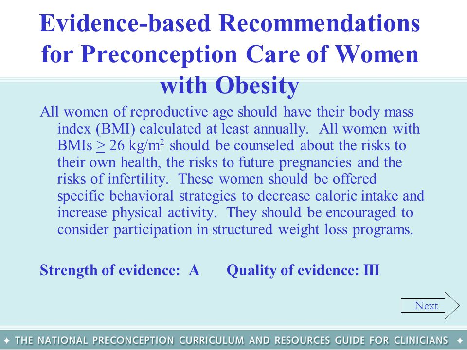 Evidence-based Recommendations for Preconception Care of Women with Obesity