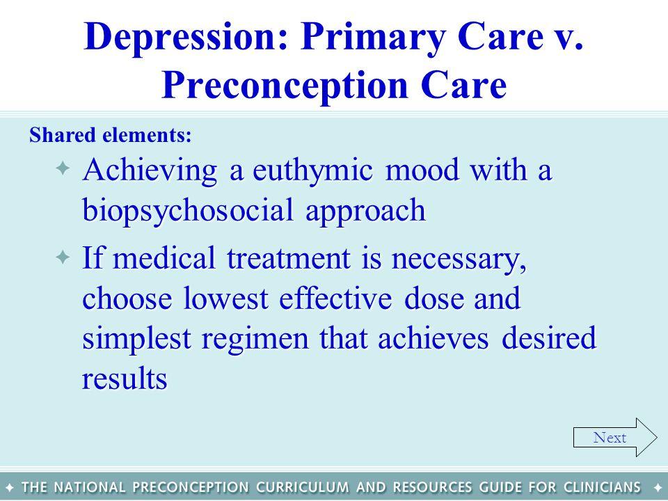 Depression: Primary Care v. Preconception Care