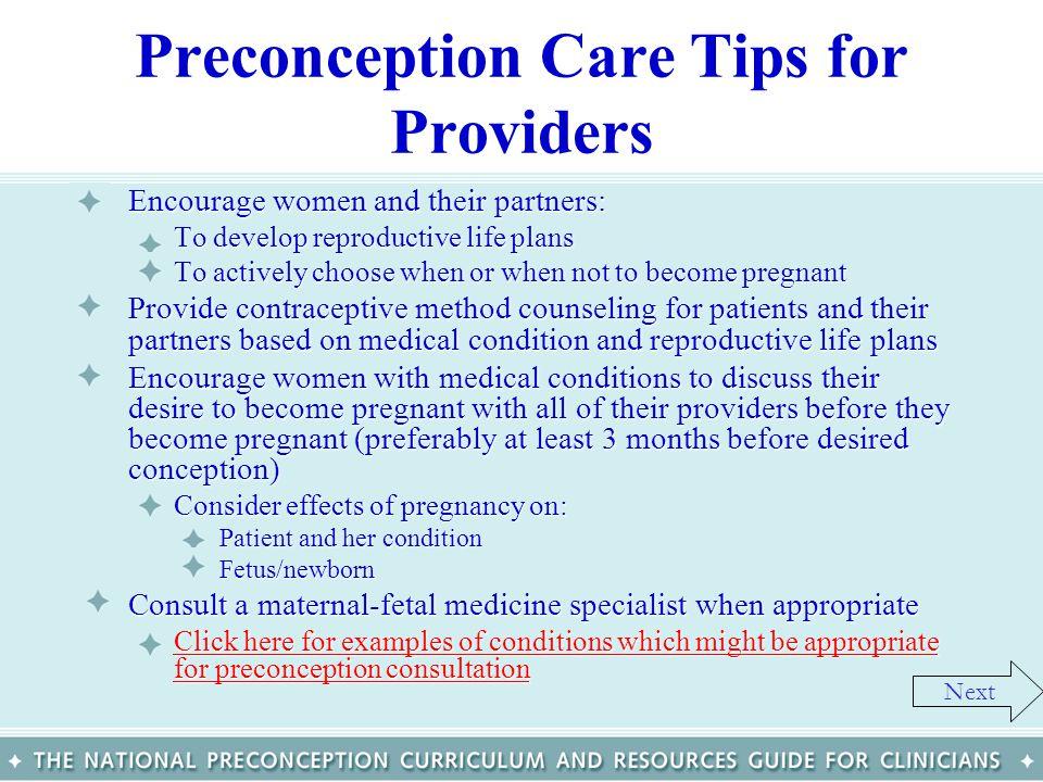 Preconception Care Tips for Providers